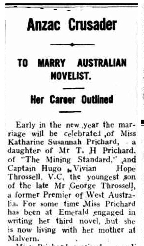 Anzac Crusader to marry Australian novelist