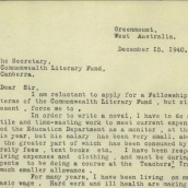Letter to the Commonwealth Literary Fund, held by National Archives